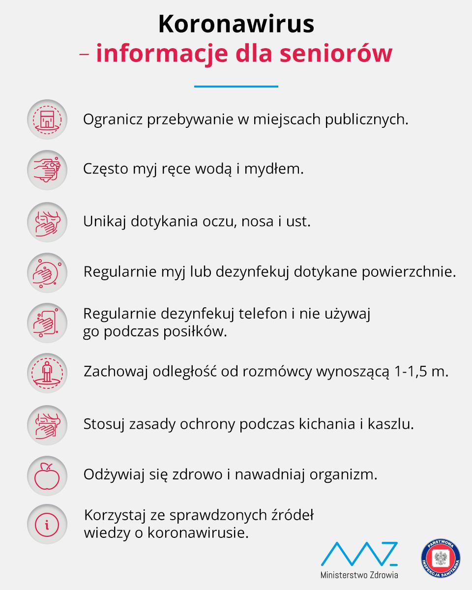 Koronawirus infomracje dla seniorów